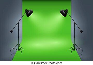 Vector green screen studio interior with spotlights. Empty...