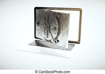 Online banking concept with open bank vault door instead of...