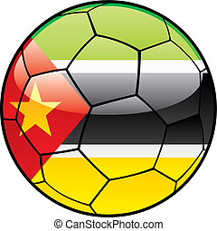Mozambique flag on soccer ball - vector illustration of...