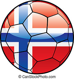 Norway flag on soccer ball - vector illustration of Norway...