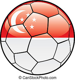 Singapore flag on soccer ball - vector illustration of...