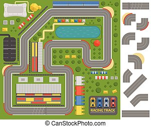 Race track curve road vector, car sport track. Top view of...