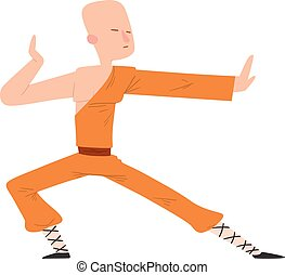Fighter man vector - Fighter Shaolin monk man kick punch...