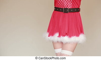 Sexy Santa Girl caresses herself. sex games. hands in...