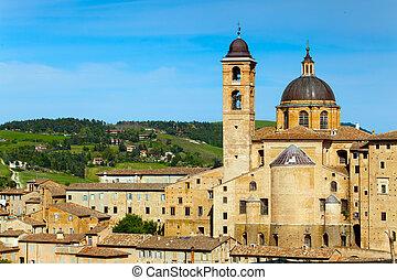 średniowieczny, Miasto, urbino, w, Włochy
