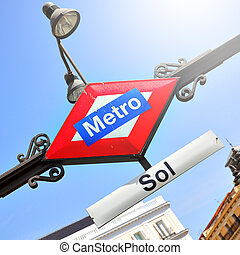 Metro Sol in Madrid - Metro sign Sol station in Madrid,...