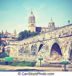 Roman bridge and Salamanca Cathedral, Castile and Leon,...