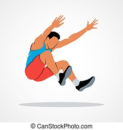 Long jump trajectory The athlete jumps. Branding Identity...