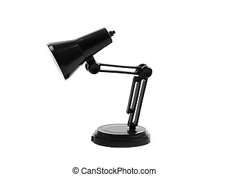 Black reading table lamp isolated over the white background