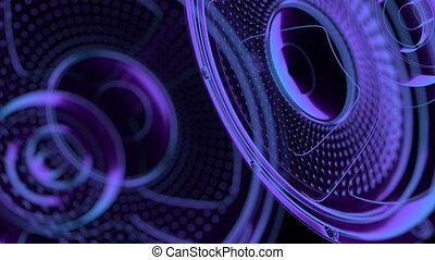 seamless vj musical motion loop - neon speakers. 3D render -...