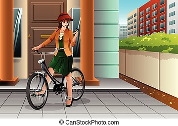Woman Riding a Bike and Looking at Her Phone