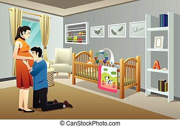 Pregnant Woman with Her Husband in the Nursery Room