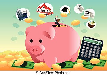 Future financial planning concept - A vector illustration of...