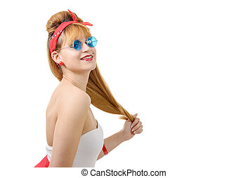 pretty girl in retro style with blue sunglasses on white