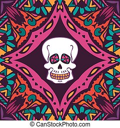 helloween pattern with skull - mexican style ornamental...