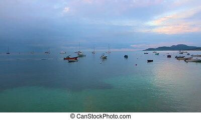 Boats in harbour, Puertp rico - Boats anchored in beautiful...
