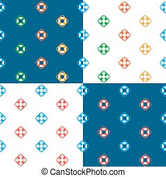 Vector set of seamless lifesaver buoy pattern against blue...