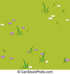 Seamless cartoon pattern of flowers grassy field - Seamless...
