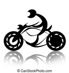 Motorcyclist on Bike - Biker rides motorcycle abstract...