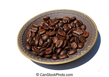 Coffee Beans On Brown Plate - Coffee beans on a brown plate...