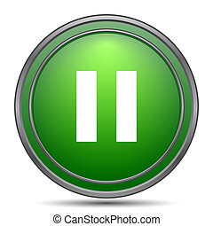 Pause icon. Internet button on white background.