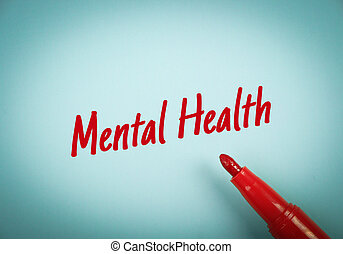 Mental Health Text - Text Mental Health written on blue...