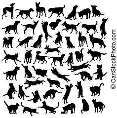 Pet Animal Silhouettes - Cat and Dog, Pet Animal,...