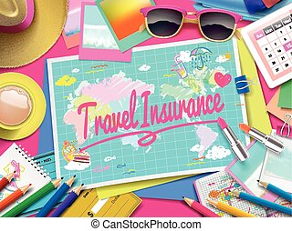 Travel Insurance on map, top view of colorful travel...
