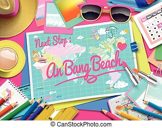 An Bang beach on map, top view of colorful travel essentials...