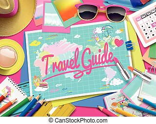 Travel Guide on map, top view of colorful travel essentials...