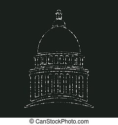 Congress Capitol in Chalk design. Vector graphic