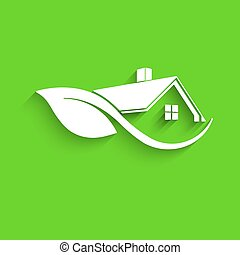 Natural Clean House. Paper Style. Vector Illustration