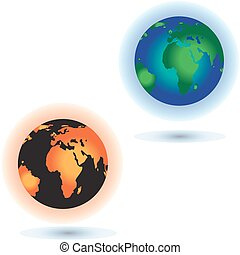 Concept of the Sun burning the planet Earth - Global warming...