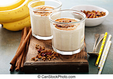 Banana smoothie in mason jars - Banana smoothie with peanut...