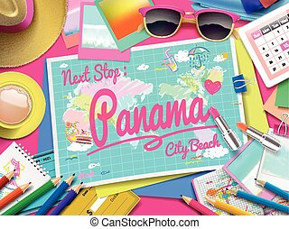 Panama City Beach on map, top view of colorful travel...