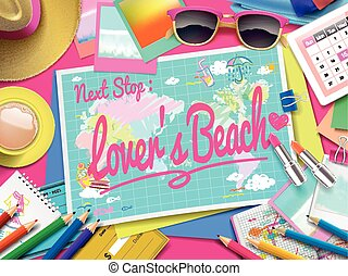 Lover's Beach on map, top view of colorful travel essentials...