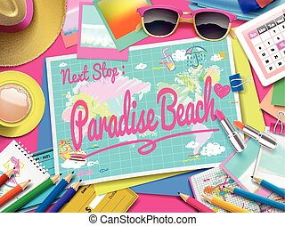 Paradise Beach on map, top view of colorful travel...