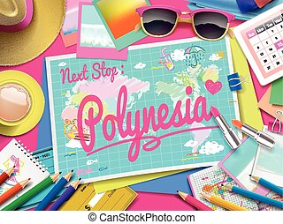 Polynesia on map, top view of colorful travel essentials on...