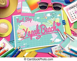 Yapak Beach on map, top view of colorful travel essentials...
