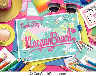 Nacpan Beach on map, top view of colorful travel essentials...