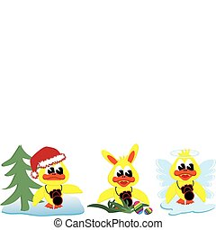 Xmas easterbunny and angel ducks - collection of cartoon...