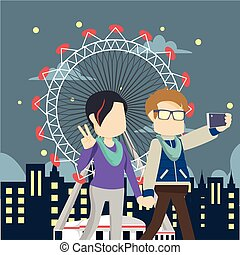 couple take a selfie in theme park