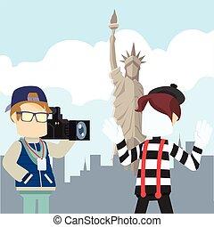 cameraman reporting pantomime tour liberty