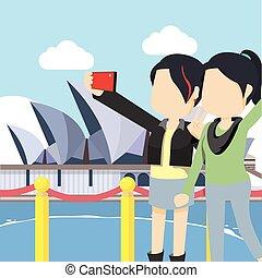 bestfriend taking selfie in opera house