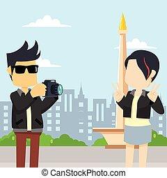 rocker guy take a photo rocker girl in front of monas