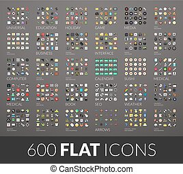 Large icons set, 600 vector pictogram of flat colored with...