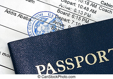 Boarding Pass - Airline boarding pass with public seal of...