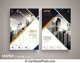 Flyer or Cover Design with attractive city landscape in grey...