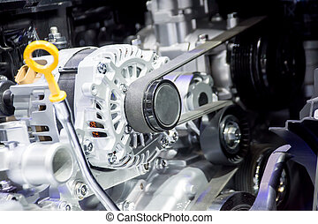 The closed up of starter motor for car