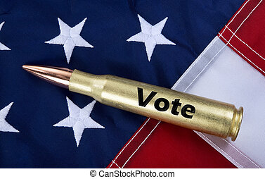 50 Cal Bullet with Vote on it. - Vote for your rights to arm...